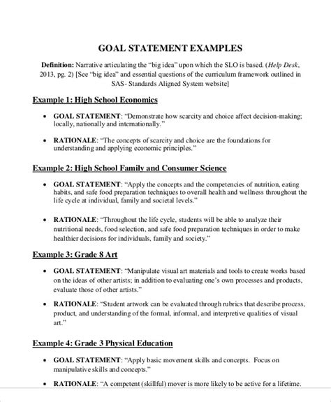 Resume Goal Statement by Goal Statement Resume Template Sle