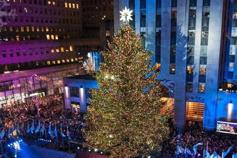 when is the lighting of the rockefeller tree rockefeller center tree lights up amid rainy weather ny