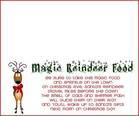 printable magic reindeer food gift tags recipe and poem for reindeer food 7000 recipes