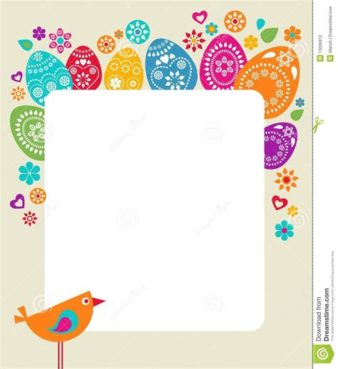free easter card templates for photographers easter card template with colored eggs stock vector