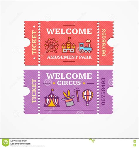 theme park tickets circus and amusement park tickets flat icon set vector