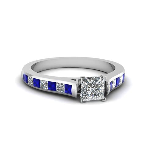 Blue Sapphire 14 30 Ct princess cut cathedral channel set engagement ring