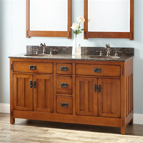 oak bathroom sink cabinets 60 quot american craftsman double vanity for undermount sinks