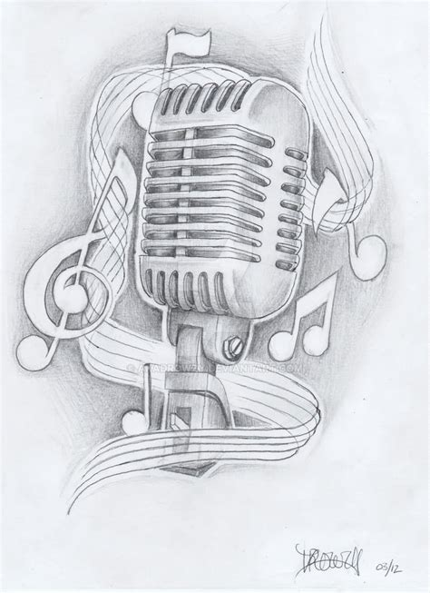 microphone music tattoo designs music notes and microphone tattoo design by akadrowzy