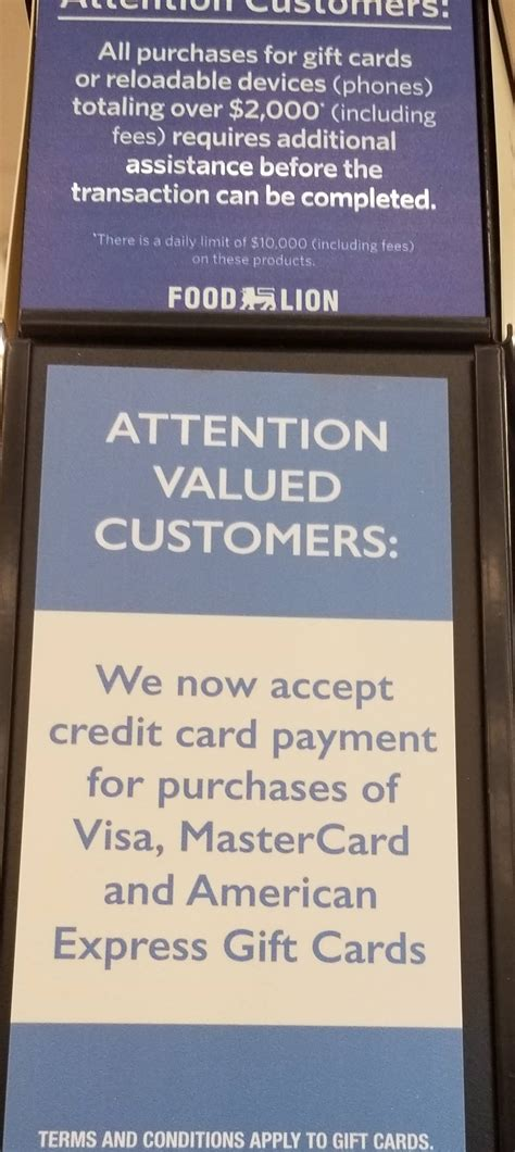 What Stores Accept Mastercard Gift Cards - food lion now accepts credit card for prepaid gift card purchases doctor of credit