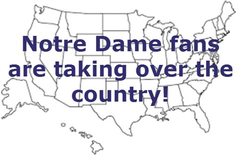 notre dame cus map map where the most notre dame football fans are located the spun