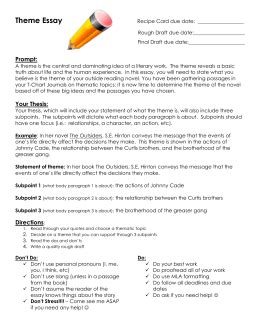 The Outsiders Theme Essay by Fifth Grade Response To Literature Outline