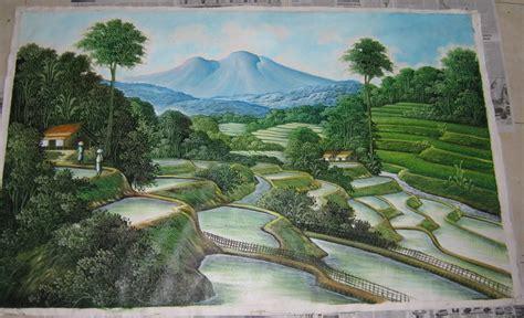 jual lukisan pemandangan terasering ubud asli bali  lapak bali bagus lukisan juraganseni