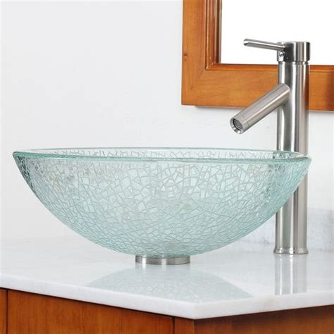 Clear Glass Vessel Sink by Shop Cae Etched Clear Cracking Glass Vessel Bathroom Sink