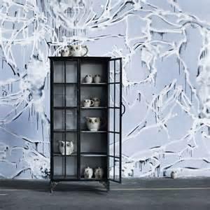 Tall metal display cabinet in black