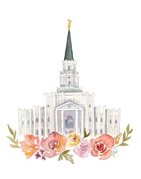 doodlebug lds houston lds temple watercolor by sweetnsandy on etsy