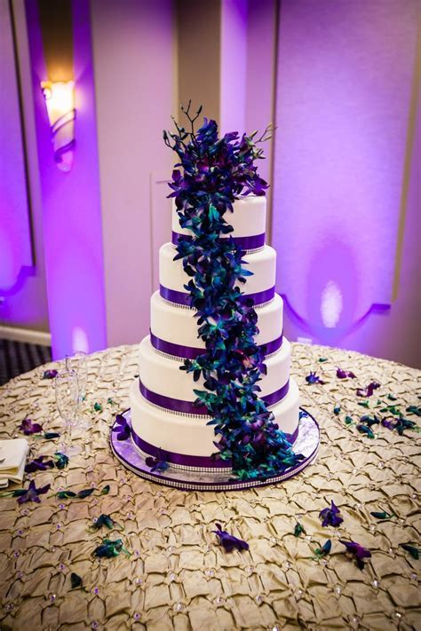 purple & teal wedding cake with orchids   Purple Teal and