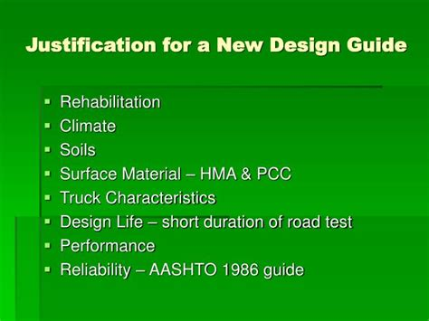 design justification definition ppt guide for mechanistic empirical design of new and