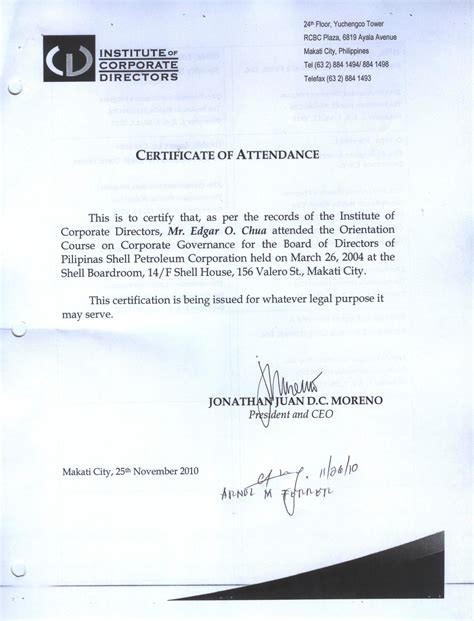 certification letter of attendance the energy development corporation sec pse reports on
