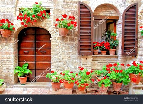 italian house music italian house front colorful potted flowers stock photo 185193500 shutterstock