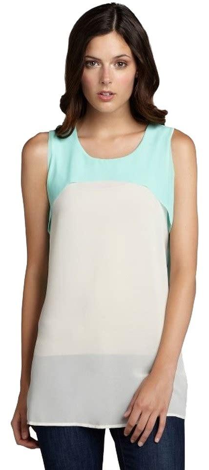 Colorblock Sleveless Top 1 seafoam green white womens colorblock sleeveless tank top 79 7340305 blouses