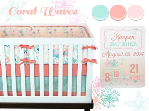 mint and coral baby bedding baby girl crib bedding baby bedding coral mint pink
