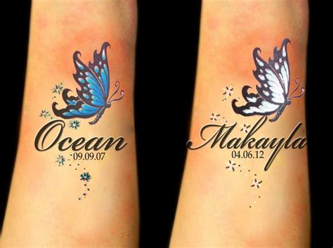 tattoo butterfly with names butterfly wrist tattoos with names tats pinterest
