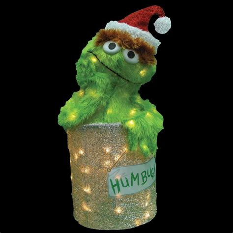 sesame street 18 in led 3d pre lit oscar the grouch 90105