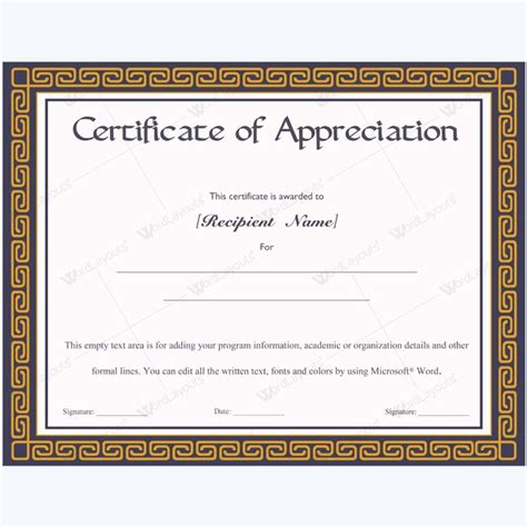 layout for certificate of appreciation 26 best certificate of appreciation templates images on