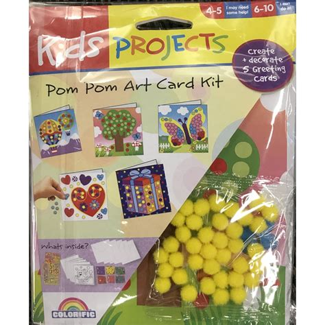 cards crafts kids projects 7 1 11 8 1 11 kids projects card making pom pom craft kit bunnings