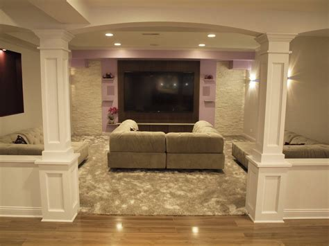 basement decor basement half walls and design columns ideas basement masters