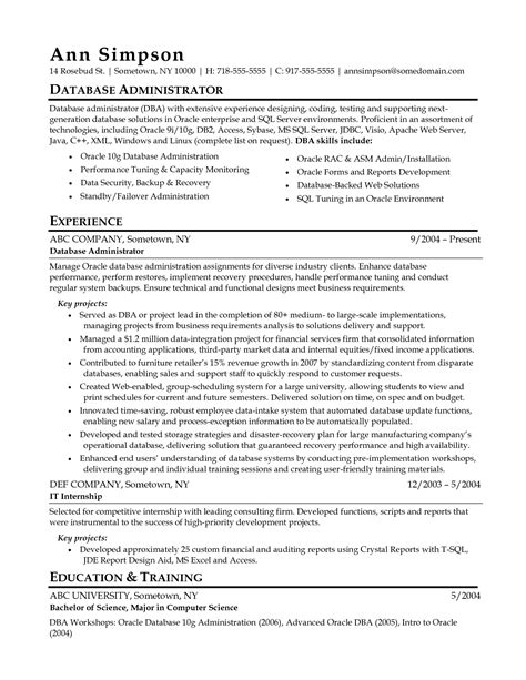 Oracle Dba Resume by Oracle Dba Resume Format Resume Ideas