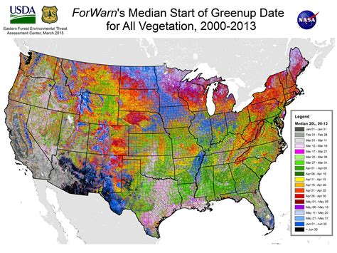 forest map of usa the typical start of greenup on agricultural lands forwarn