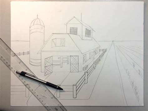 2 Drawings In 1 by One Point Perspective Barn Watercolor Painting Lesson