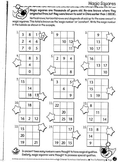 Easy Magic Squares Worksheet by Magic Square Maths Math