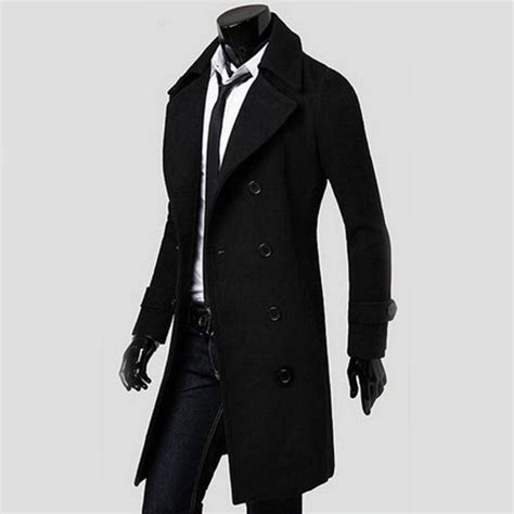 Jaket Blazer Pria Coolmen Black 2017 cool breasted overcoat outwear trench coat winter jacket in trench from