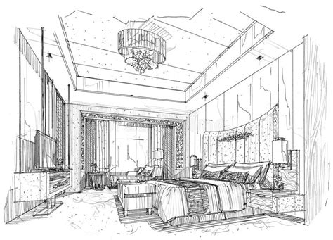 interior perspective of a bedroom sketch interior perspective bedroom black and white interior design stock illustration