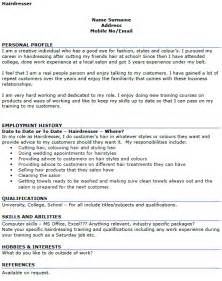 hairdresser cv exle cover letters and cv exles