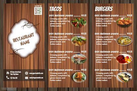 awesome restaurant menu flyer wood background