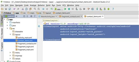 android layout xml xsd android studio listview fehlermeldung expected resource