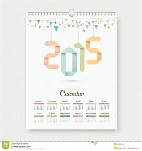 Origami Number - calendar 2015 origami paper number stock vector image
