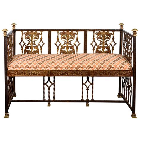 antique iron bench antique iron and bronze bench by oscar bach at 1stdibs