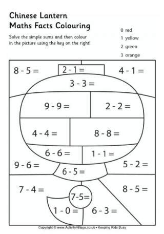new year addition worksheet maths facts colouring pages