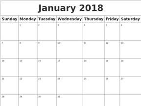 Calendar 2018 Empty January 2018 Blank Calendar