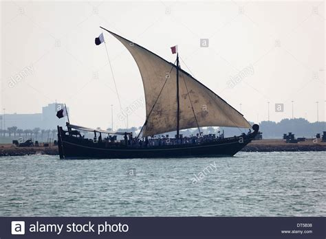 sailing boat qatar traditional arabian sail dhow in doha qatar middle east