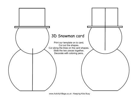 snowman templates for cards 3d snowman