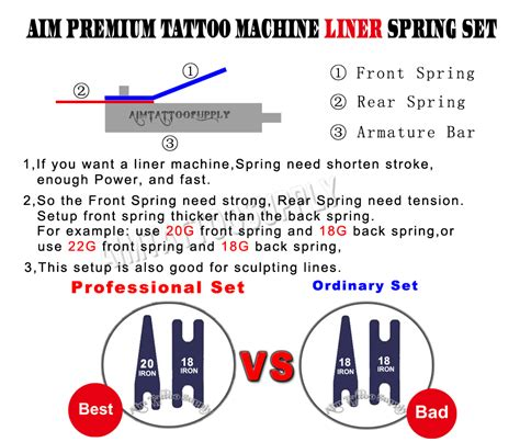 tattoo liner springs premium tattoo machine tempered blue steel conventional