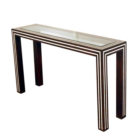 Inlay White black and white pearl inlay console glass and inlay console table