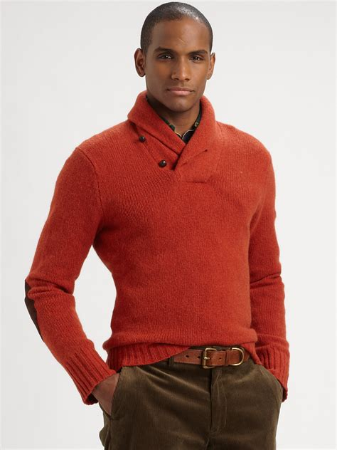 Polo Collar Pullover polo ralph wool shawl collar pullover in orange for