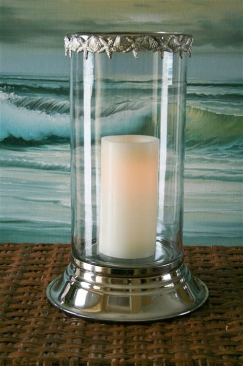 Hurricane Pillar Candle Holders Seashell Hurricane Candle Holder Tropical Candles And
