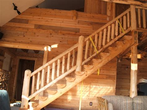 Wooden Handrails For Outdoor Steps Log Cabin Traditional Staircase Detroit By Sanford