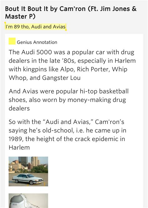 i m 89 tho audi and avias bout it bout it lyrics meaning