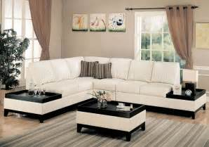 bonded leather modern sectional sofa w side tables