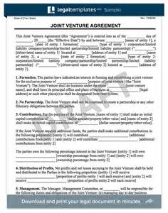 joint venture template simple joint venture agreement