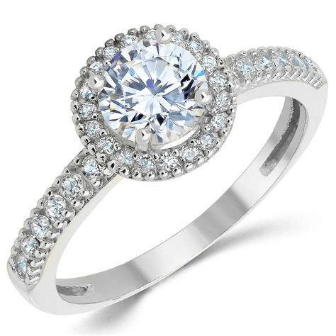 solid white gold cz cubic zirconia halo design